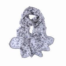 Long Silk Scarf Gray Theme Leopard Print QQL442