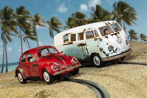 Scalextric C3966A Legends Rusty Rides Volkswagen Beetle & T1B Camper Van - LE