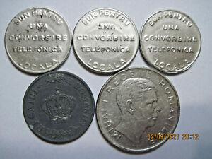 Romania (e72) - telephone token 1930-1941 - 3 pcs., 5 Lei 1942, 100 Lei 1944