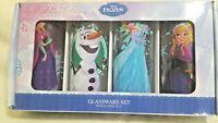 Disney Frozen Glassware Set Four 10 oz Olaf, Snowman, Anna & Elsa LET IT GO! NWT