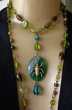 Vintage Necklace Brass Egyptian Beetle Teal Green Agate Pendant Art Glass Beads