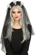 Horror Bridal Skulls Flower Black Veil Adult Costume Accessory