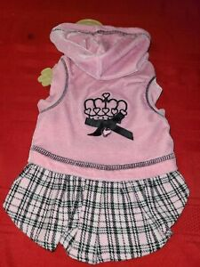 Lulu pink DOG OR CAT BLACK AND PINK PLAID HOODIE DRESS ♡ SIZE SMALL ♡ SO CUTE