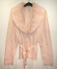 Nygard Collection Pink Cardigan Pink Rabbit Fur Collar sz PXL Silk Blend Knit