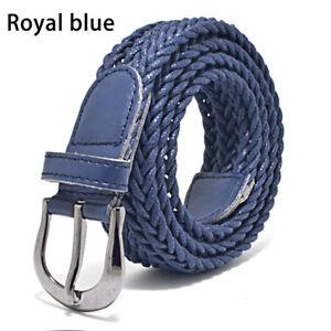 Women Men Buckle Leather Belt Elastic Braided Stretch Cross Belt Waistband