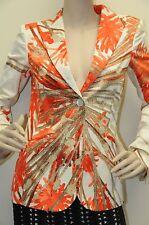 $3400 NEW BRIONI Silk Ladies SUIT JACKET Blazer  Orange Cream Beige 34 4