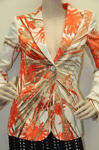 Neuf Brioni Soie Femmes Costume Veste Blazer Orange Beige Crème 34 4
