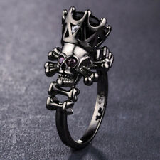 Gorgeous Black Gold Plated Jewelry Round Cut Black Sapphire Skull Ring Size 8