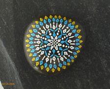 Hand Painted Alchemy Beach Stone with Yellow, Blue & White Mandala Design