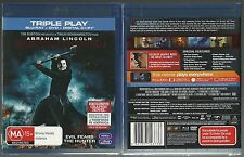 ABRAHAM LINCOLN VAMPIRE HUNTER TIM BURTON NEW TRIPLE PLAY BLURAY + DVD + DC