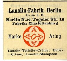 Lanolin-Fabrik Berlin Toiletten-Creme, Baby-Creme, Shampoon Trademark 1912