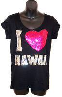 NWT VICTORIA'S SECRET LOVE PINK HAWAII Sequin BLING BLACK Silver T-shirt TEE NEW