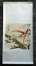 "Chinese wall scroll brush ink painting birds flower gongbi Asian art 65x32"" big"