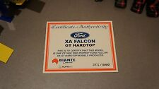 1:18 BIANTE FORD XA FALCON GT COUPE IN RED PEPPER CERTIFICATE #3974/5000 ONLY