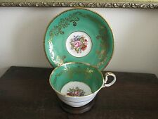 Aynsley England Tea Cup And Saucer Signed J A Bailey Flowers Rose  Green