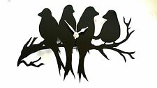 Bird silhouette horloge mural love birds