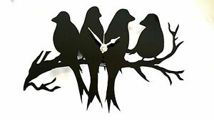 BIRD SILHOUETTE CLOCK WALL MOUNTED LOVE BIRDS