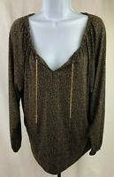 Michael Kors Long Sleeve Shirt Size Medium Brown 95% Polyester 5% Spandex