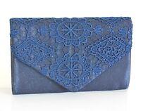 POCHETTE donna borsello BLU raso ricamata elegante borsa da cerimonia festa H5