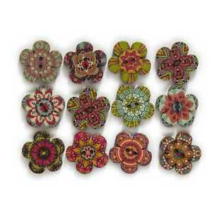 50pcs Painted Flower Wood Buttons Sewing Scrapbook Clothing Crafts Handwork 25mm
