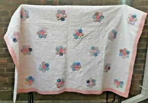 """Vintage Handmade Patchwork Quilt Bedspread Throw L72"""" sq. double pink country"""