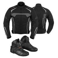Men's Motorbike Racing Cordura Jacket Coat Motorcycle Biker Leather Black Boots