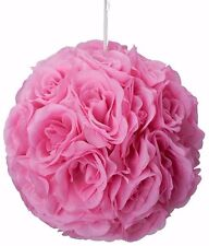 "4 pc -10"" Rose Flower Pomander Kissing Balls Wedding Pew, Home Decoration pink"