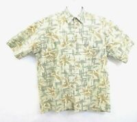 Pierre Cardin Mens Shirt Size XL Hawaiian Floral Print Button-down Green Bamboo