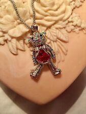 """NEW Silver Teddy Bear Necklace with Genuine Swarovski Crystals 18"""" w/2"""" Ext."""