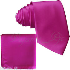 Fuchsia Men SelfTie Neck tie & Pocket Square Hankie Set Formal Party Wedding