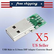 5PCS Male USB to DIP Adapter Converter 4pin for 2.54mm PCB Board YG