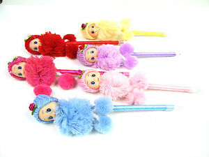 Novelty Cute Doll with hat Wool Clothes Fluffy Fun Gift Ballpoint Stationery Pen