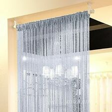 String Door Curtain Silver Ribbon Room Divider Window Panel Fringe Tassel Beaded