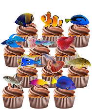 Paquete De Fiesta temática Peces Tropicales - 36 Taza Comestible Decoración de tortas Decoración Nemo