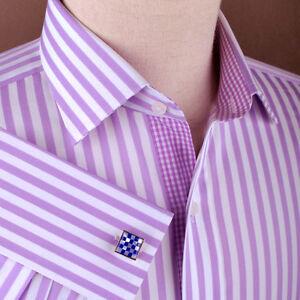 Purple Thin Striped Formal Business Dress Shirt Luxury Herringbone Fashion Blue