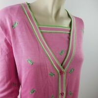 Quacker Factory Pink Plus Size sweater 1X Twin-Set embroidered Embellishments