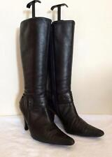 MODA IN PELLE BLACK LEATHER BUCKLE TRIM BOOTS SIZE 6/39