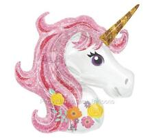 """33"""" UNICORN Pink and GOLD NEWEST DESIGN Magical Pegasus Fairy Balloon FREE SHIP"""
