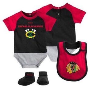 New NWT Chicago Blackhawks 3 Piece Creeper Set Infant Size 24 Months 24M Bib