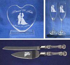 Crystal fireman Wedding Cake Topper glasses knife Engraved FREE firefighter