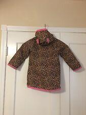 Kids Gymboree Rain Coat Cat Ears on Hood Leopard Print w/ Pink Trim Lining Sz 5