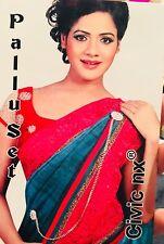Z7 Moti Pallu Saree Set Bollywood Indian Sari Pearls Jewellery Gold Tone
