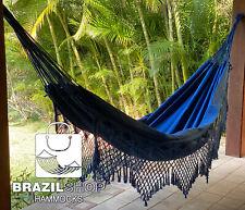 Premium Handmade Double Size Brazilian Hammock Large 13.8 x 5.3 ft - Deep Blue