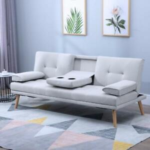 Grey 3 Seater Sofa Bed Recliner Retro Vintage Seat Couch Drink Table Living Room