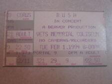 Rush Used Concert Ticket Stub Counterparts Tour 2.1.1994 Phoenix Az Collectible