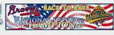 1996 ATLANTA BRAVES WORLD SERIES NL CHAMPIONS BUMPER STICKER UNSOLD STOCK