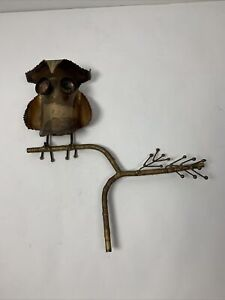 VINTAGE C JERE MID CENTURY MODERN OWL ON A BRANCH METAL SCULPTURE ARTIST SIGNED