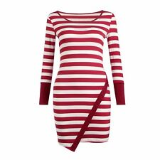 Womens White & Red / Blue Stripe Long Sleeve Stretchy Bodycon Dress