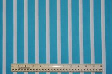 1/2 yd cotton quilt fabric Lets Play Dolls turquoise & white stripe wide stripe