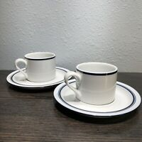 Dansk Bistro Christianshavn Blue Set Of 2 Flat Tea Cups & Saucers Portugal MCM